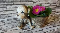 pes štěně+květináč,keramická osazovací zahradní dekorace