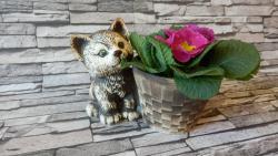 kotě+květináč  zahradní keramická dekorace